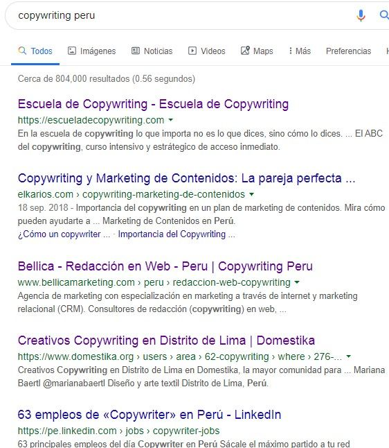 google copywriting peru